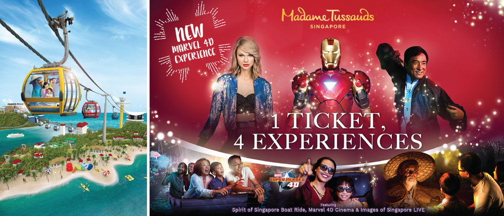 Bundle includes: Singapore Cable Car Sky Pass (Unlimited), Images of Singapore LIVE! & Boat Ride, Madame Tussauds Singapore, Marvel 4D