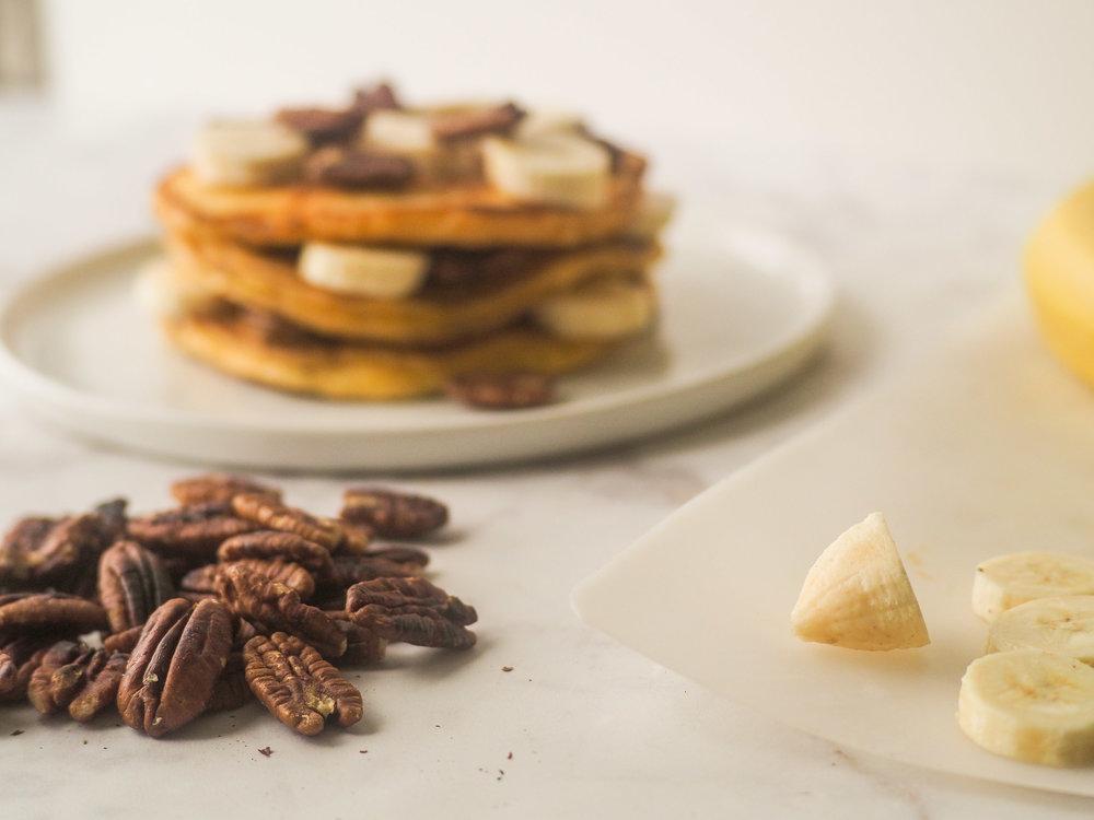 Sour Cream Banana Pecan Pancakes