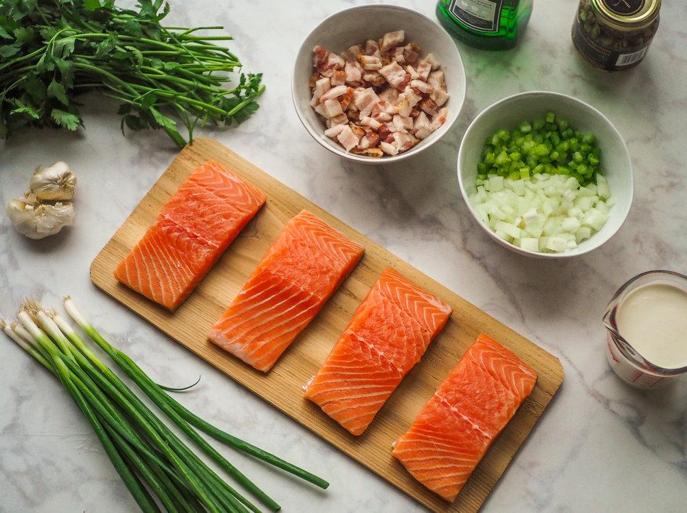 Pan-Rushed Salmon w/ Clam Chowder