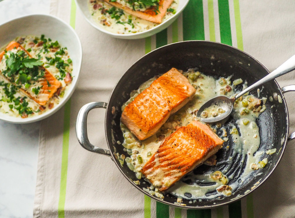 Pan-Rushed Salmon w/Clam Chowder