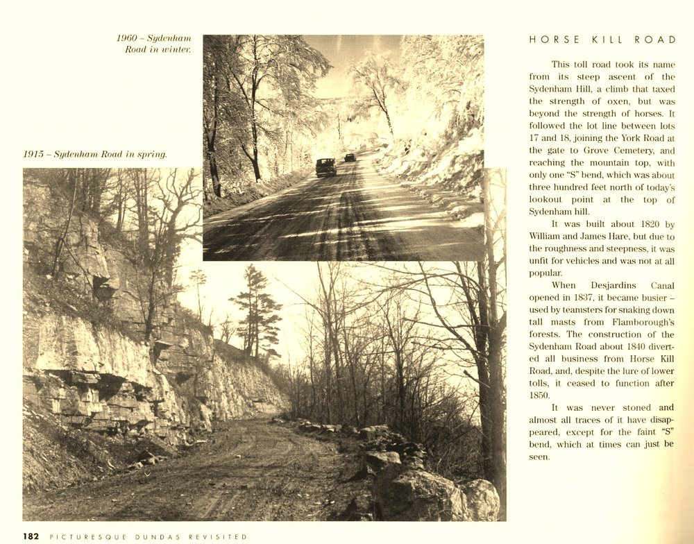 CLICK TO ENLARGE. Thanks to the Dundas Museum for the information about Sydenham Hill. The page is from 'Picturesque Dundas Revisited 'by Olive Newcombe.