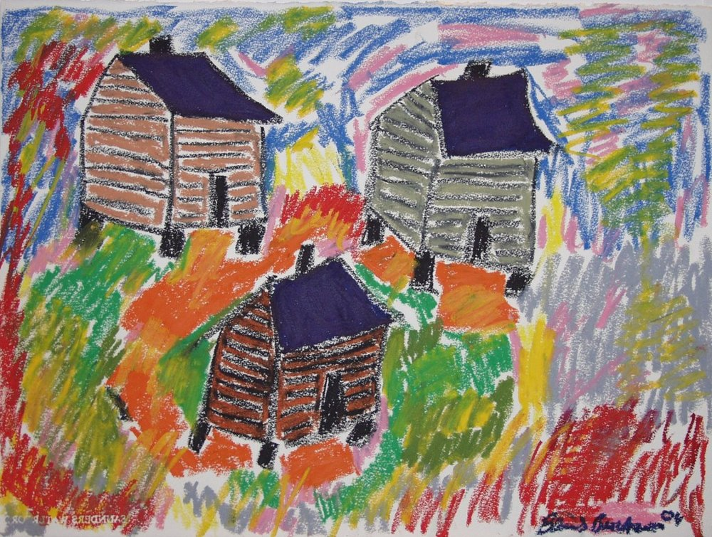 Beverly Buchanan,  Three Shacks,  2004. Oil pastel on paper.