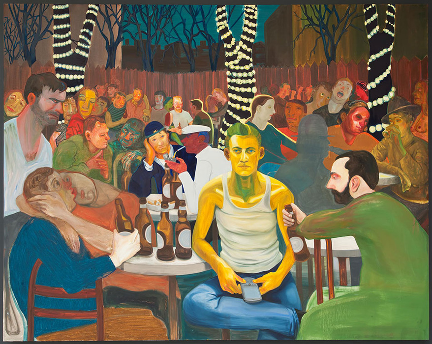Nicole Eisenman,  Beer Garden with Ash,  2009. Oil on canvas.