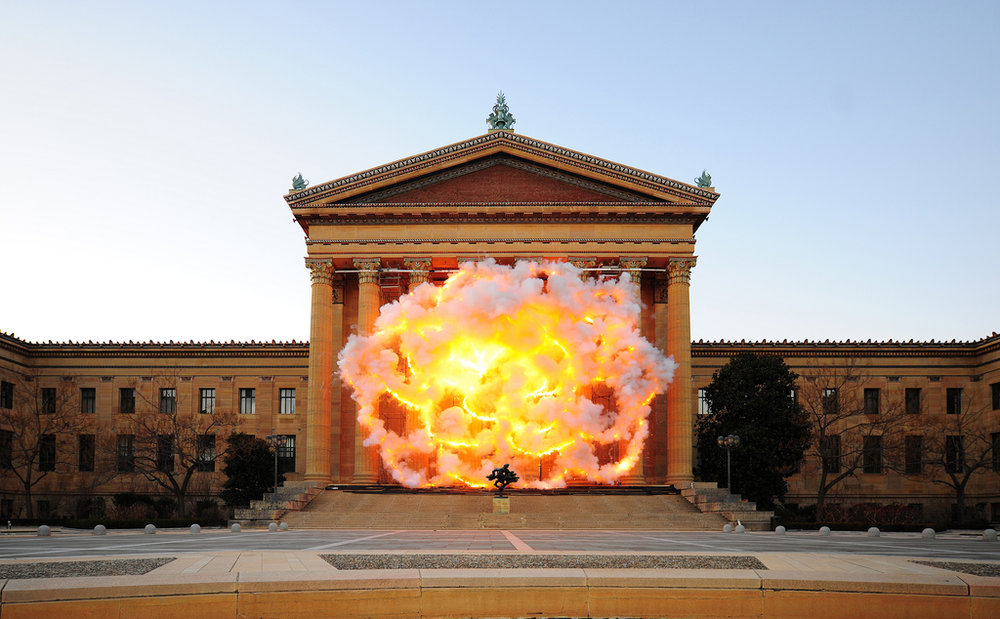 Cai's previous work on the Parkway, at the Philadelphia Museum of Art ( Fallen Blossoms,  December 11, 2009, 4:30PM, 60 seconds, gunpowder fuse, metal net for gunpowder fuse, and scaffolding). Photo: Lonnie Graham.