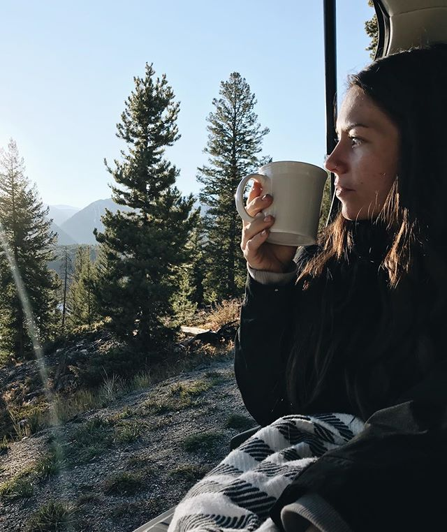 Really miss being in the mountains with this beautiful woman, drinking coffee, and not being prepared for snow. ❤️