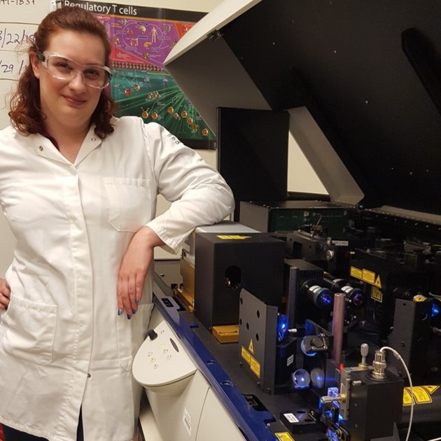 Media Director Genevieve Mullins studies how immune cells communicate in autoimmune disease.
