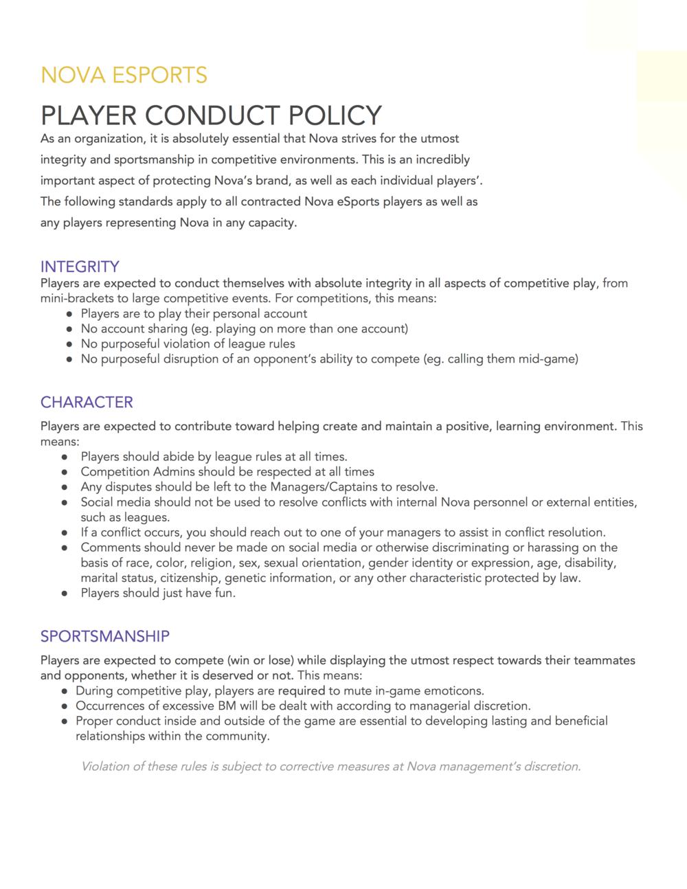 Nova Code of Conduct