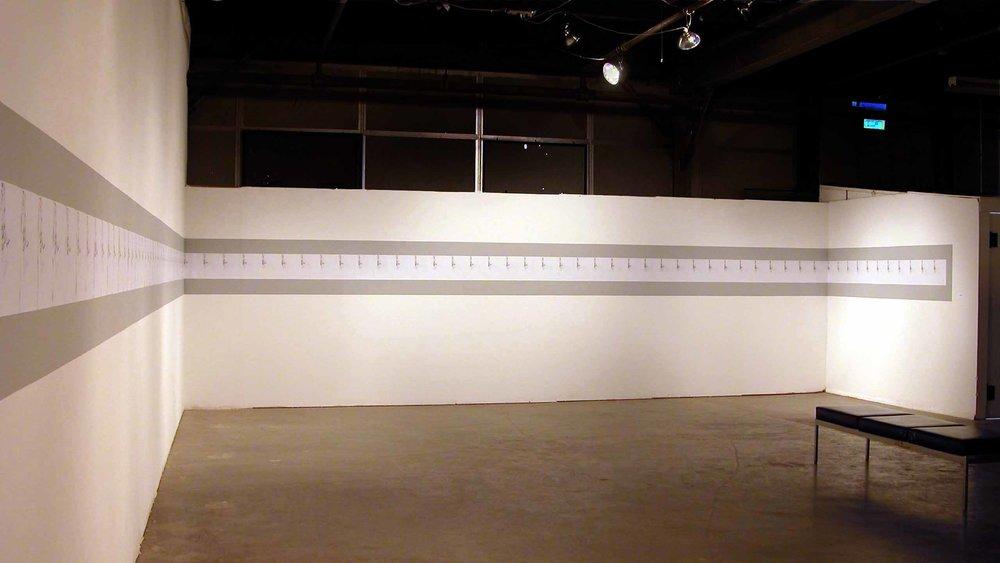 """""""230 Days Since Portland, Maine"""" 230 photocopies, 11""""x163ft 2005"""