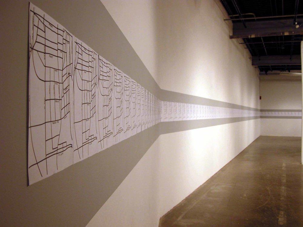 """""""230 Days Since Portland, Maine"""" 230 photocopies 11""""x163ft. 2005"""