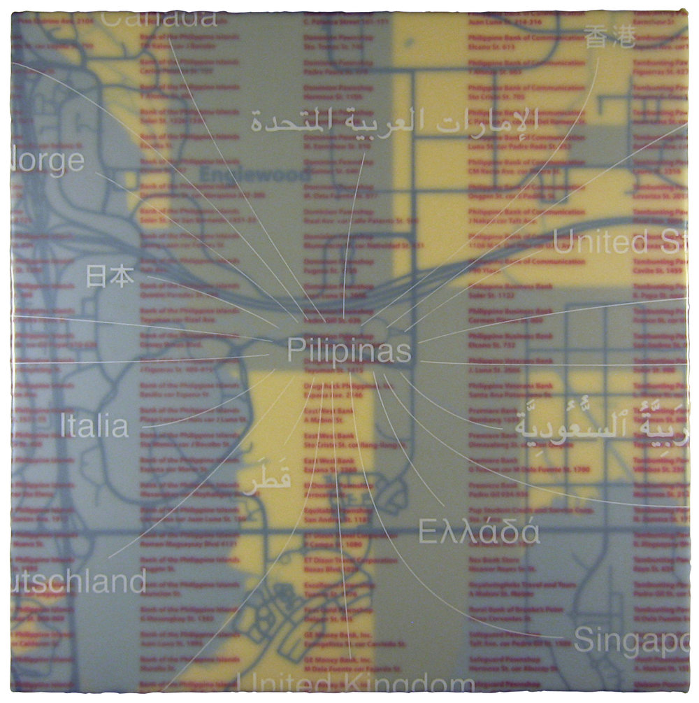 """Western Union: Manila"" acrylic, screen print, and glue on canvas 20""x20"" 2011"