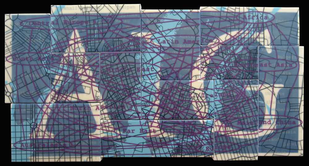 """AIG"" acrylic, screen print and glue on canvas 22""x43"" 2005"