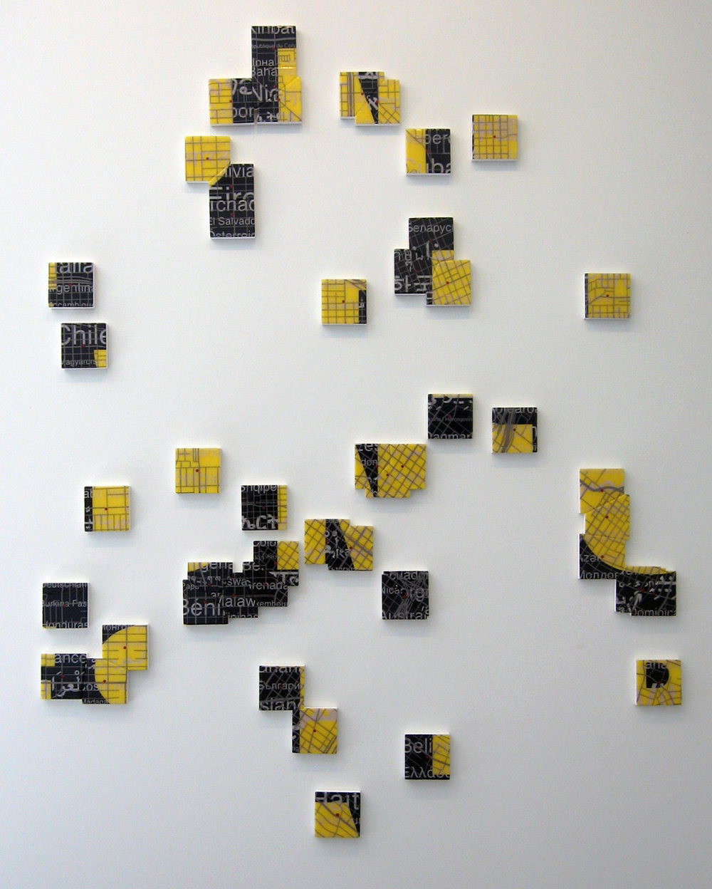 """Western Union: Houston"" mixed media on panel 72""x48"" 2010"