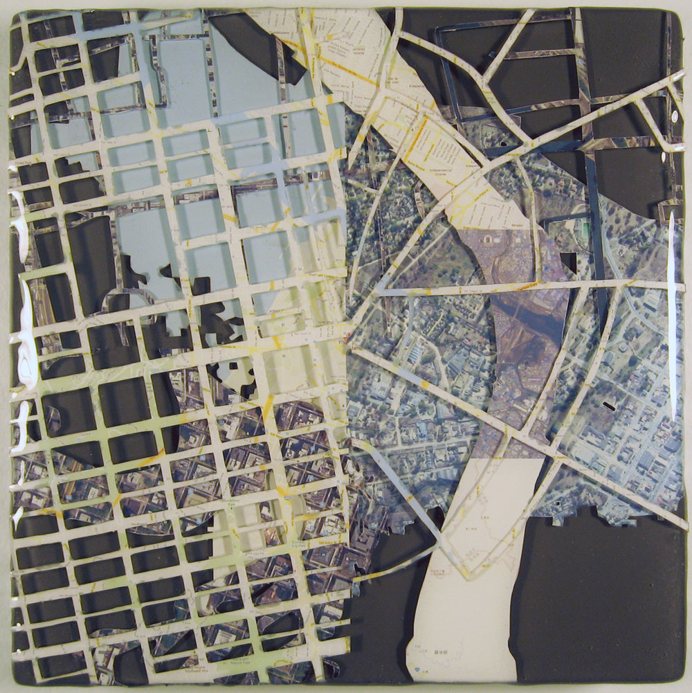 """Sister Cities: Portland, Ashkelon, Bologna, Guadalajara, Kaohsiung, Khabarovsk, Mutare, Sapporo, Suzhou, Ulsan""  acrylic, digital print, and resin on panel  7.5""x7.5""  2012"