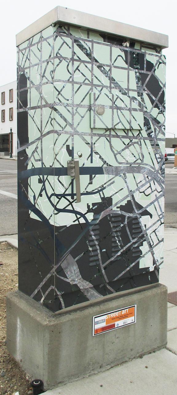 """Sister Cities: Boise, Gernika, Chita"" vinyl on traffic box, Boise, Idaho, 2015"