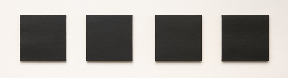 "Dark Pools: A-Z: 2/16"" acrylic and screen print on canvas over panel, 48""x48"" (20""x20"" each) 2016"