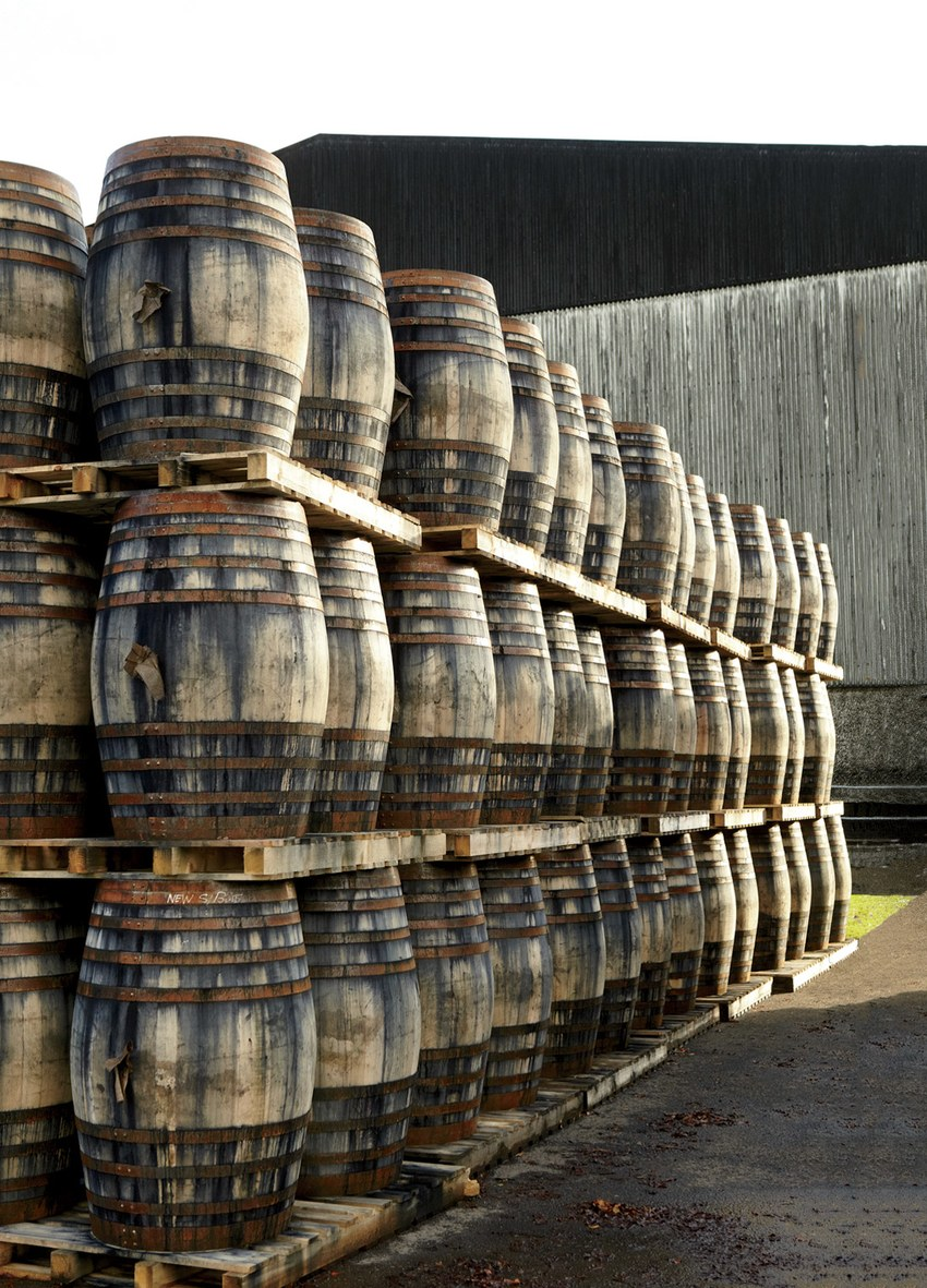 Casks in the aging room at the Balvenie distillery.