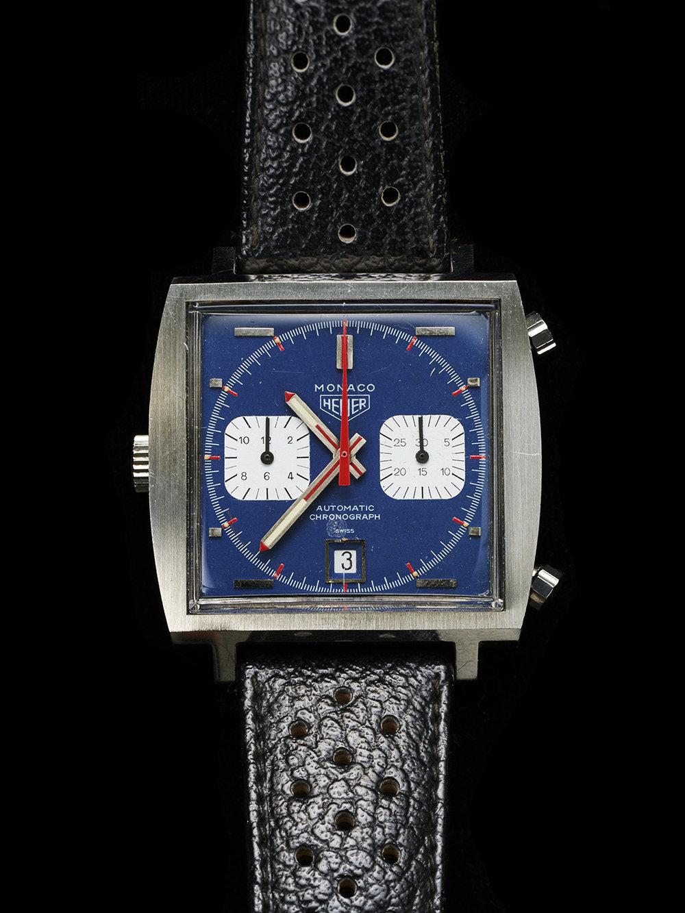 Steve Queen's Heuer Monaco prop watch from the film Le Mans