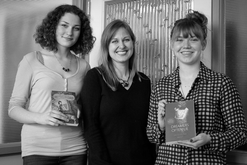 Student hosts Rebecca and Jill interview Jacqueline West on her writing routine strategies