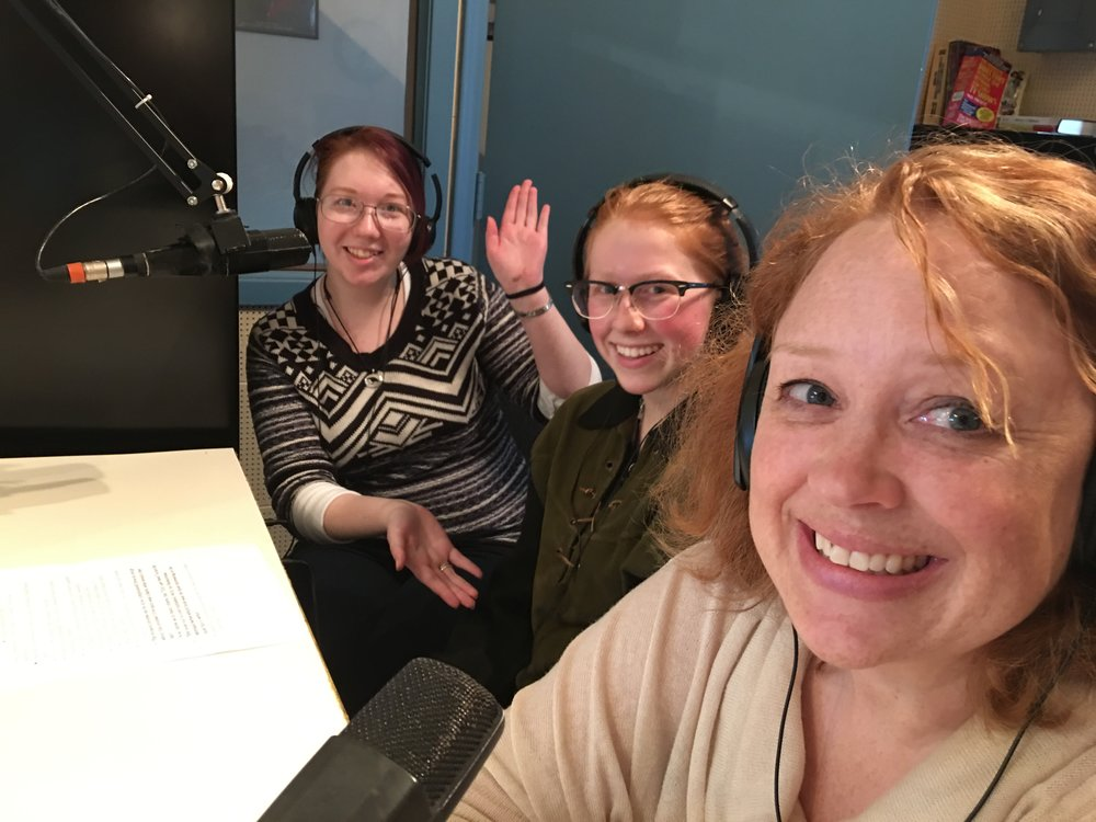 Claudia, Celia and Anne in the studio of KLBB