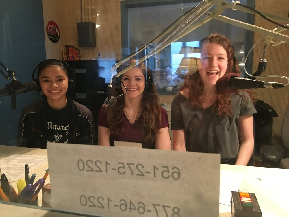 Christina, Natalie and Emma before the interview