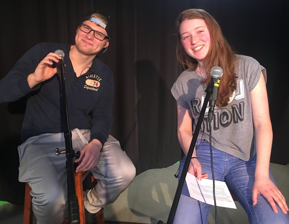 Filmmaker Tristan James Jensen converses with student host Emma Atkins