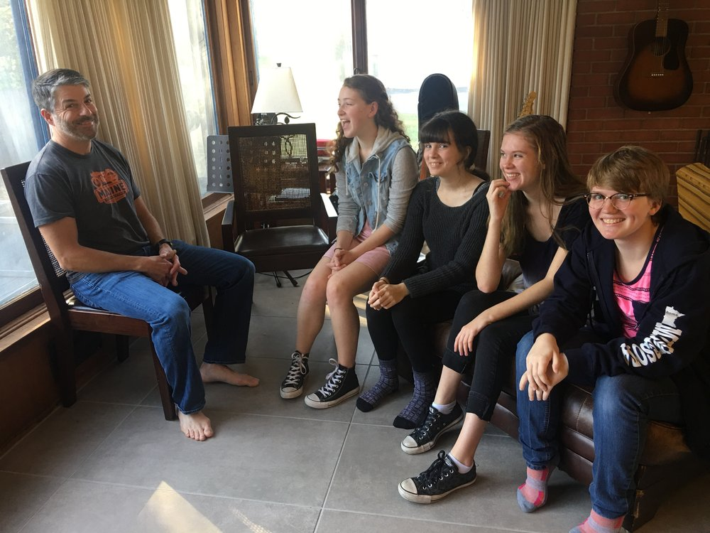 Jeff, Emma, Flora, Ivy and Lee laugh about short film antics -