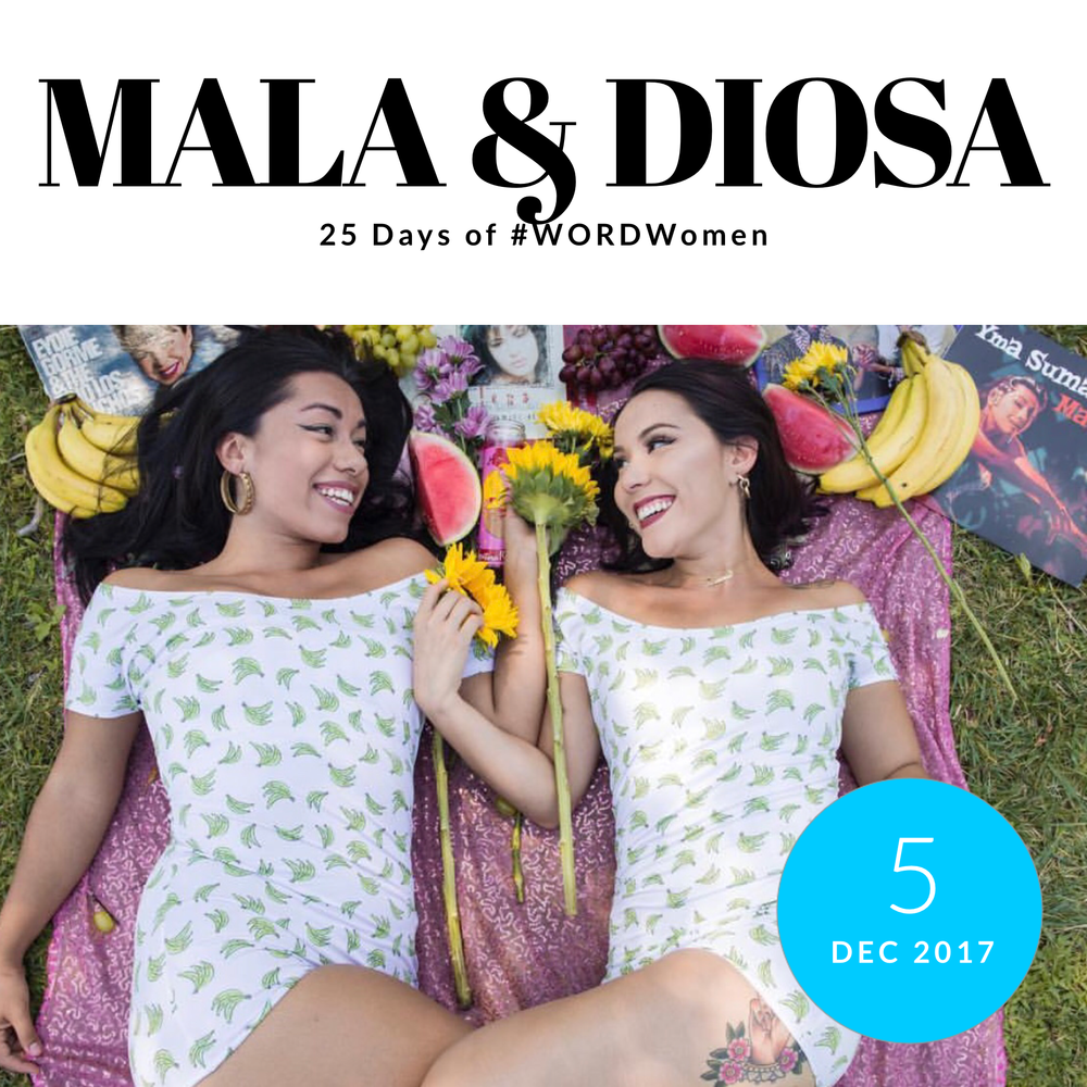 Diosa and Mala, also known as Las Mamis of Myth & Bullshit, co-creators of Locatora Radio [A Radiophonic Novela]      1. What are you grateful for?    This year, we are grateful for our listeners, lovers, and homegirls. Most of all, we are grateful to have celebrated one year of podcasting this 2017! Thank you to all the Locamores who came out to our 1 Year Locaversary Party to celebrate with us.    2. Favorite Moment or Collaboration from 2017:   2017 was the year of collaborations! From throwing parties with our friends at La Junta LA to hosting book and EP release events for local artists like Yesika Salgado and Tona, we've been busy all year! Besitos and thank you to everyone who sat down with us as guests on  Locatora Radio  this year: Unravel Podcast, Nadia Calmet, Kayla Fory, Queer Xicano Chisme, La Loba Loca, and Yesika Salgado.    3. One woman to know:    Amélie is a model from the San Fernando Valley. Her work focuses on empowering non-binary folks and uplifting femme creativity. You can keep up with Amélie on Instagram @mazapanhoe