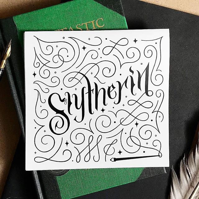 I'm not the biggest Harry Potter fan anymore, BUT I'm all about that #Slytherin life. 🐍 It's weird because I tested as Ravenclaw in the past, but maybe I'm a Slytherin/Ravenclaw cusp? 😂🧙♀️✨ #inktober #inktoberday10