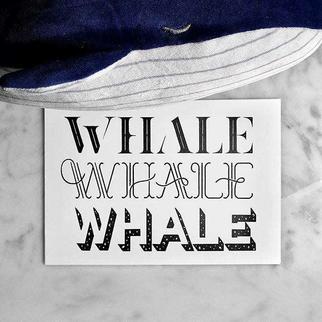 I followed a prompt for #inktober #inktoberday12 featuring WHALES. Can't resist doodling one of my favorite animals tbh. 🐋 Whale, whale, whale, what do we have here? 🐳 I decided to reapproach some styles I used to do often with vector lettering. (Uppity serifs, fancy monoline, weird 3D stuff)