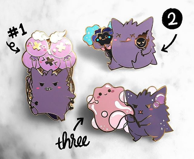 I'm excited to finally be able to post my #Halloween #Gengar pins! 😈 They've been in the making for a few months and took a while to figure out. Merch-wise, I personally prefer to make original content for the most part but Gengar's been my ultimate favorite for legit 20 years and it's about time I made some tangible Gengar merch! They're available in the link in my profile and you save a bit if you buy the full set. It's also my first time working with screenprinting on pins. 💪 Quick story behind these: Gengar likes to haunt things and start shit but honestly, he's just lonely. So I gave him some pals. 😈👿😈👿
