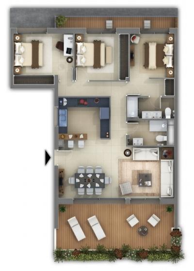 Plan appartement f4