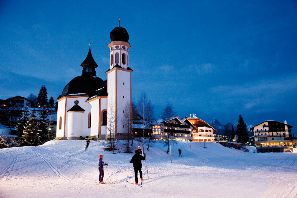Seefeld's Seekirchl Church and the St Peter Hotel, your home in Seefeld