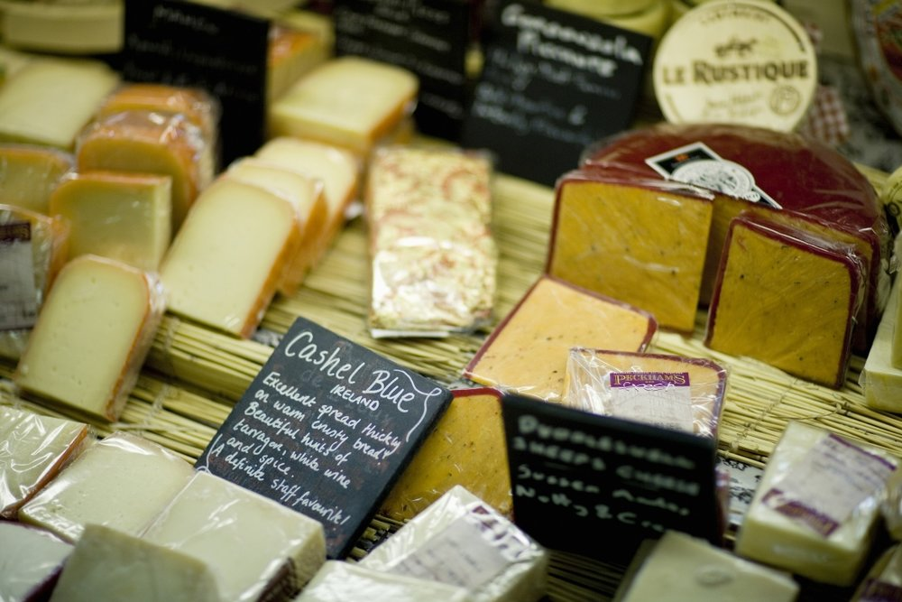 Cheese on display at Peckhams Deli and Wine Merchants in Glasgow, Scotland.
