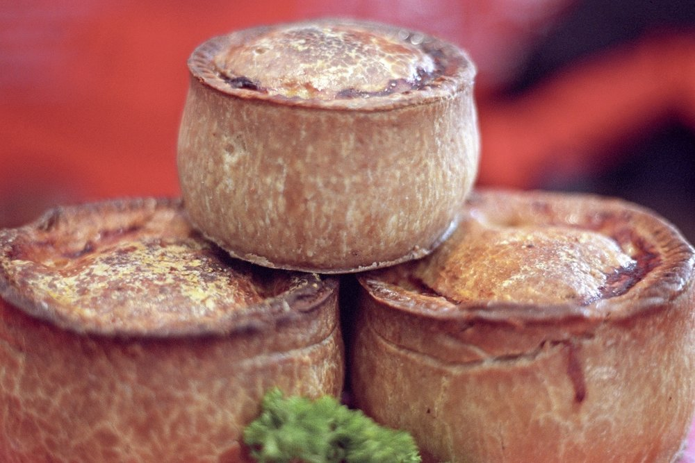 Melton Mowbray's famous pork pies in Leicestershire, England. Photo by Gary Latham.