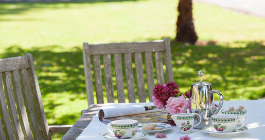 Outdoor tea at Gliffaes Country House Hotel