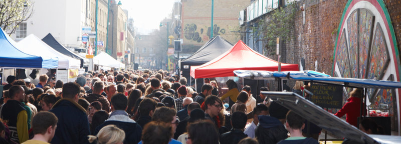 Stroll through Brick Lane and the surrounding streets and experience bustling markets