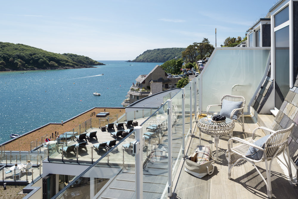 Look out at the spectacular view over Salcombe Estuary