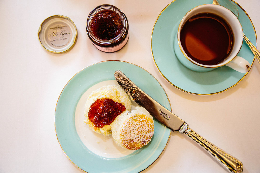 Perfect scones at Fortnum & Mason with jam and clotted cream