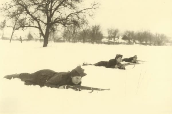 Partisan women training in the snow [Credit: Dangerous Women project]
