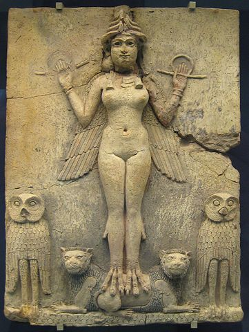 Burney Relief Panel depicting the Goddess Inanna. The panel can be found in the British Museum.