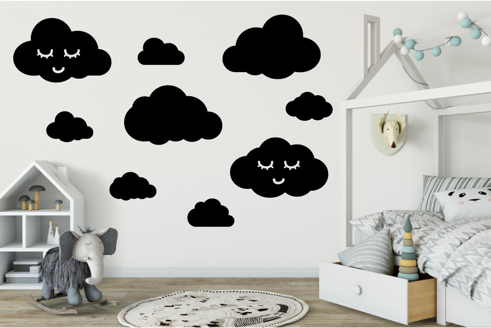 cloud wall decals for nursery or home decorating - set of 15