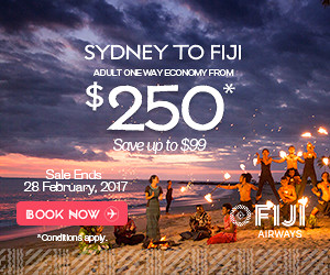 "Example of Fiji Airways digital campaign promoting an enticing offer with clear CTA ""Book Now"". Image source: BigDatr"