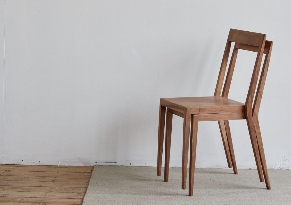 stackable walnut chairs