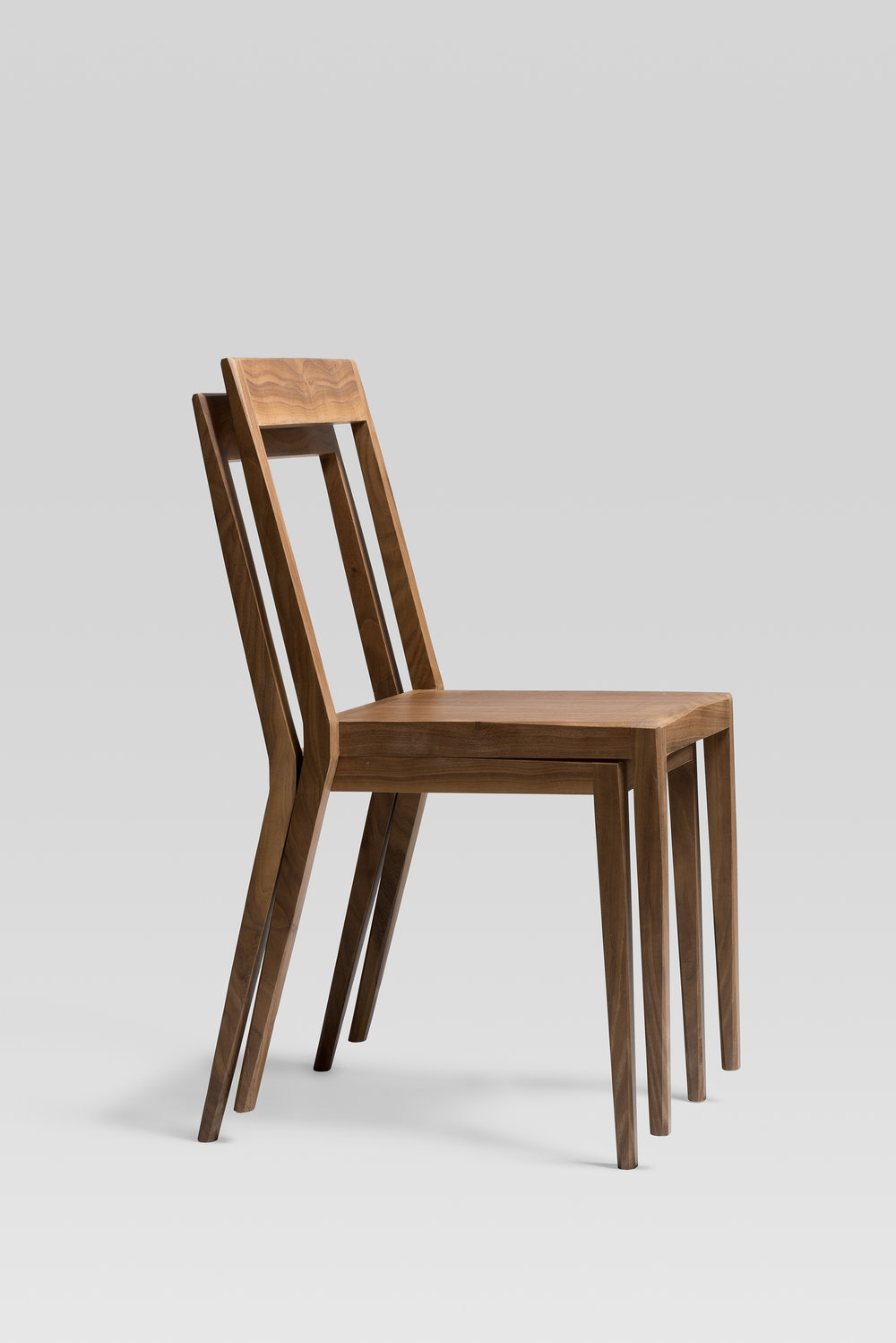 stackable walnut chair