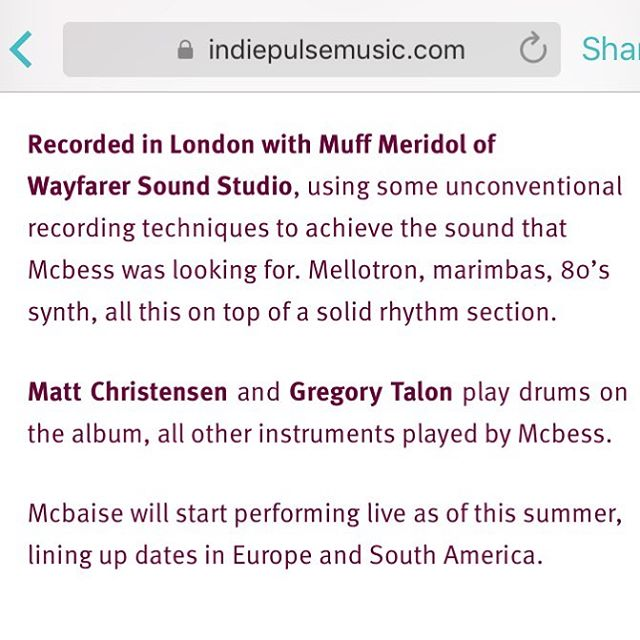 Sweet little article up on indie pulse about the upcoming @lemcbaise 's album #alexismuffatmeridolbysurround