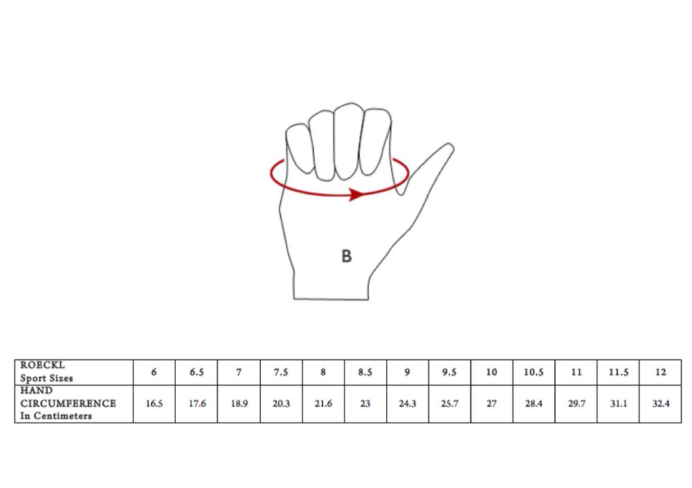 - Find Out Your Glove Size:Make a loose fist, with the tape measure across your palm. Measure around the base of your knuckles (in centimeters). Do NOT include your thumb. Horse Riding Gloves must fit like a second skin, because holding the reigns requires high tactile sensitivity. If you prefer a looser fit, perhaps go up half a size.