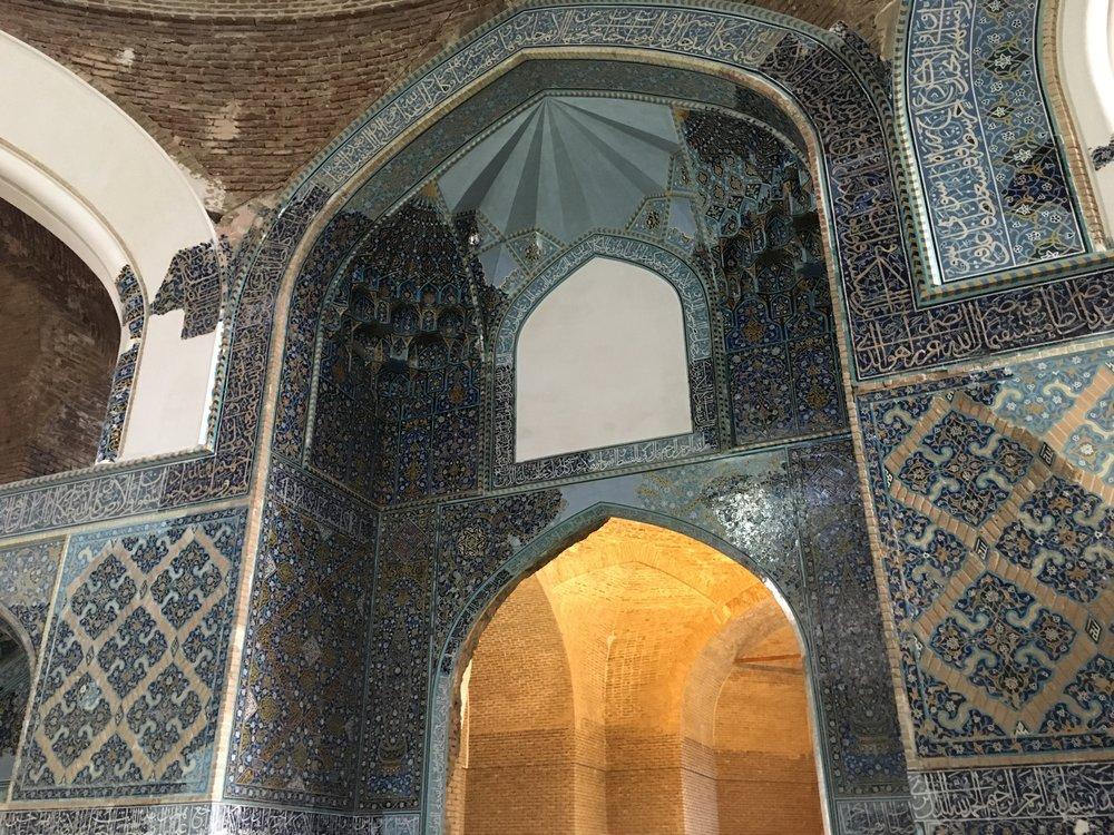 Blue Mosque, Tabriz, Iran. Mosaic blue stone, not tiles or paint.