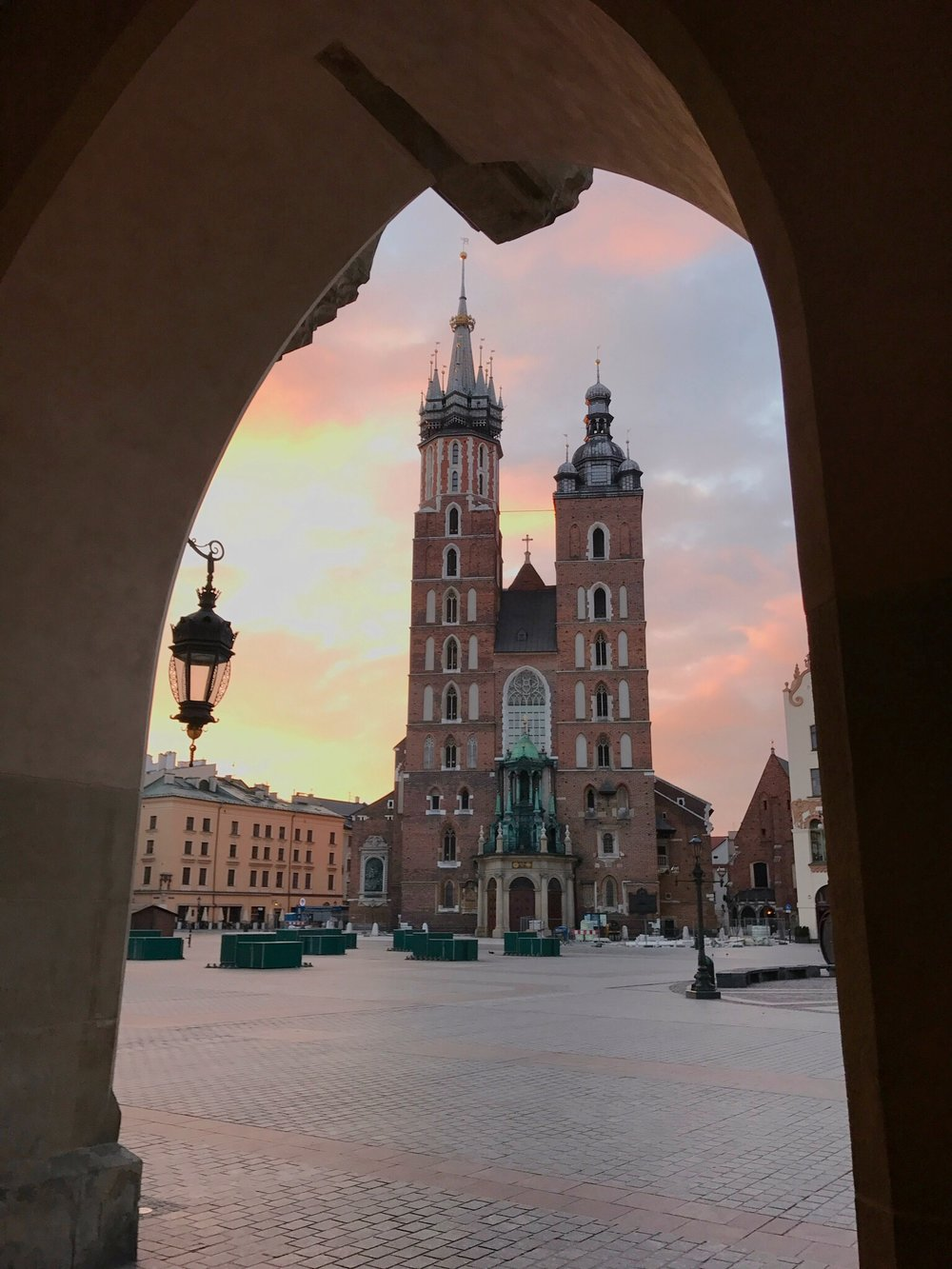 Sunrise behind St. Mary's Church in Krakow, Poland