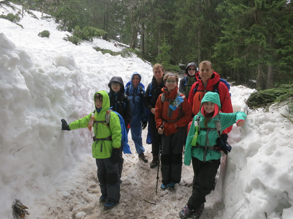 The snowpack was substantial on the hike to Dolina Pięciu Stawów