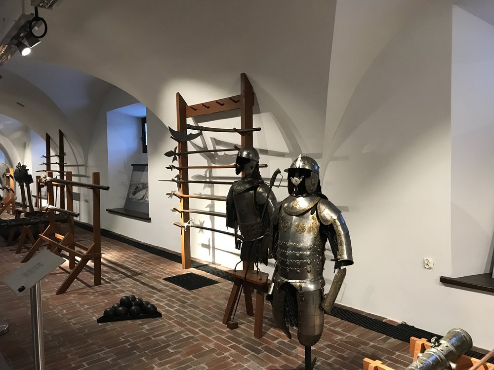 Armor and weapons inside the Arsenal Museum in Zamość, Poland